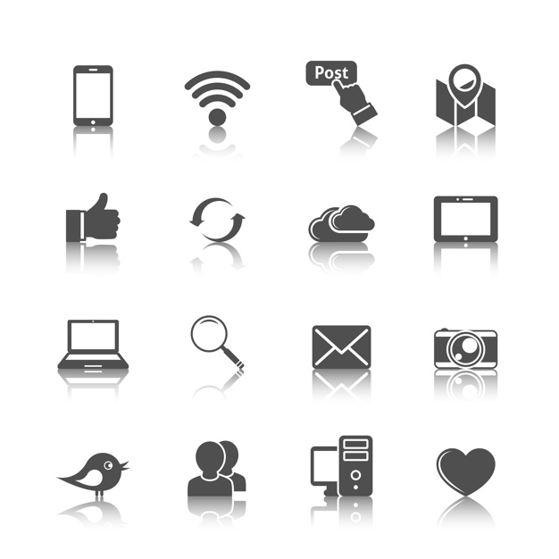 Collection of internet icons Free Vector